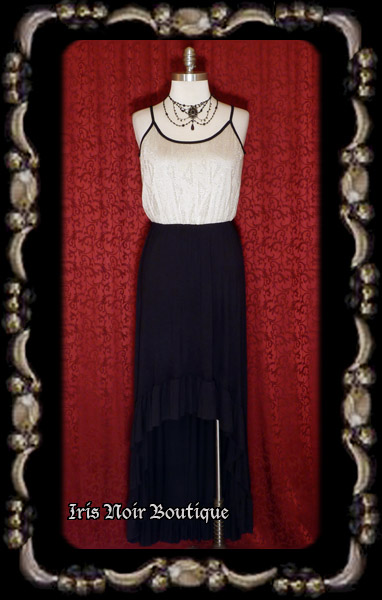 'Gothic 1930s' Art Deco Steampunk Hi-Lo Ruffle Dress