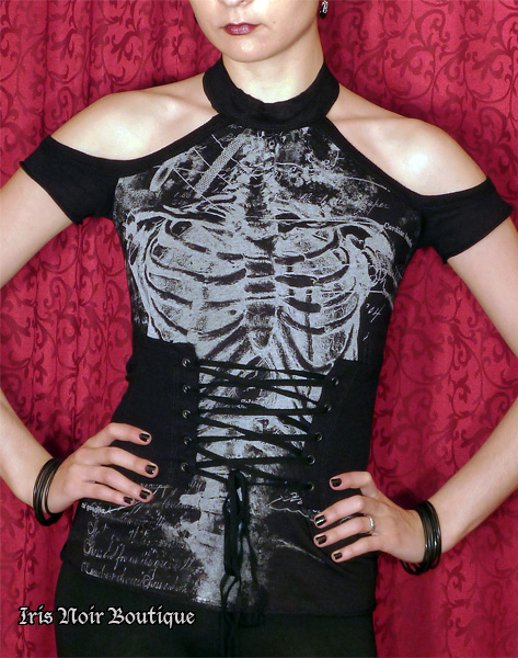 Lip Service Autopsy Punk Gothic Anatomical Print Corset Top