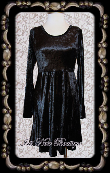 Black & Greige Gothic Lolita Black Velvet High Waist Dress