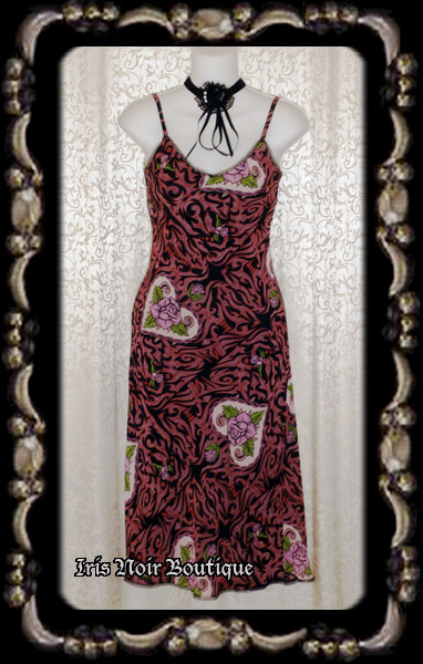 {Used} Betsey Johnson Pink Rose Victorian Print Dress XS