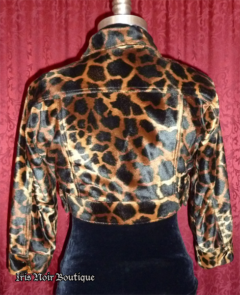 {Used} Betsey Johnson Plush Leopard Cute Retro Cropped Jacket XS