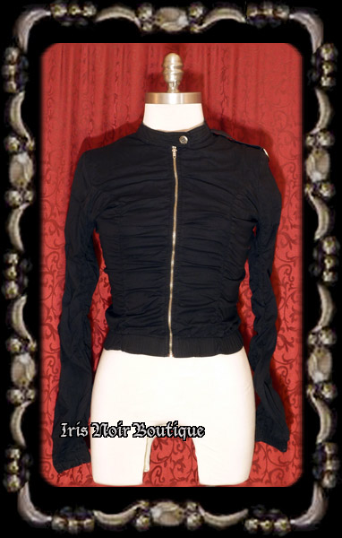 {Vintage} Black Gathered Cyber Goth Steampunk Jacket, S-M