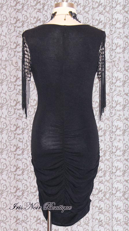 'Queen of Spades' Goth Tassel Sleeve Black Sweater Dress