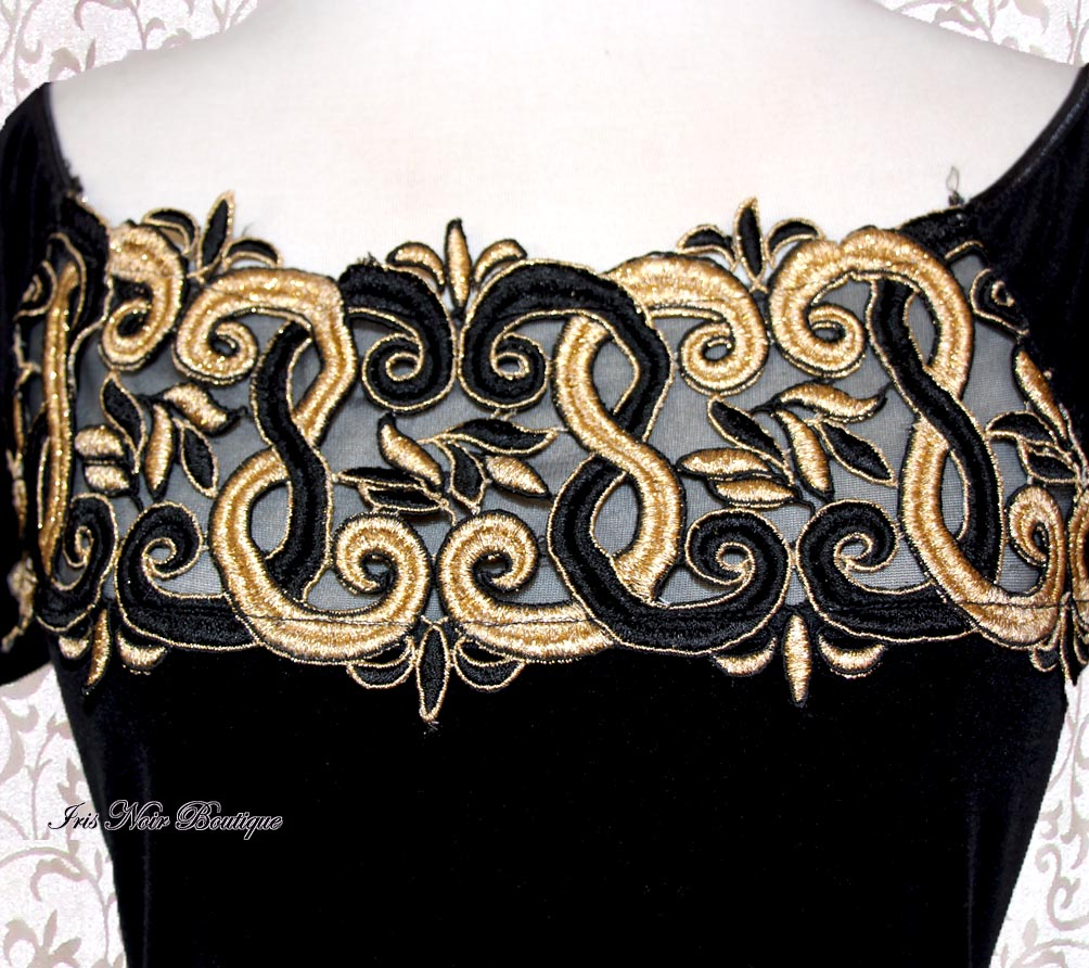 {Vintage} Black Velvet & Gold Art Deco Steampunk Bodysuit M-L
