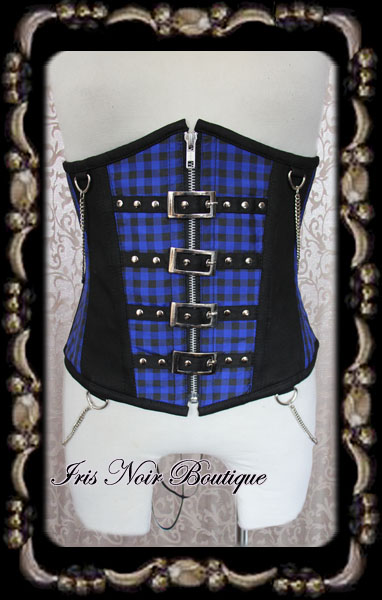 Gothic Lolita Punk Blue Plaid Buckles & Chains Corset