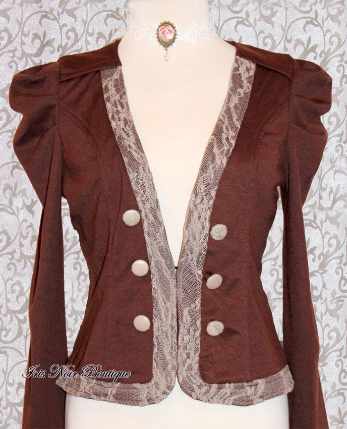 Steampunk Puffy Sleave Ivory Lace Trim Brown Jacket