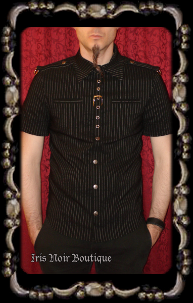 {Mens} Lip Service Gangsta Pranksta Snap-Up Punk Goth Shirt