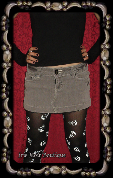 Gray 'Rainy Day' Punk Goth Emo Casual Lace Trimmed Skirt