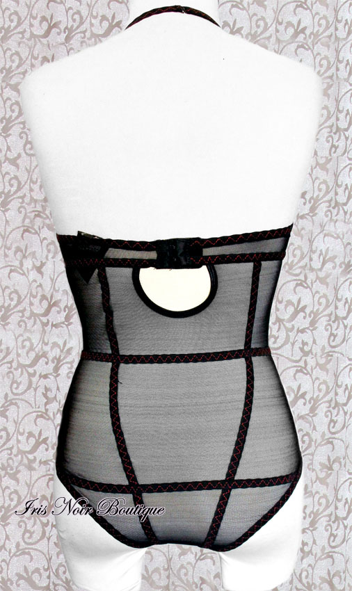 Gothic Steampunk Red Girdle Stitching Mesh Bodysuit