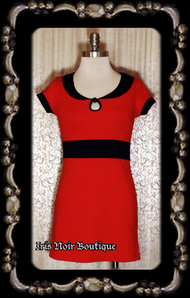 {Used} Sourpuss Lipstick Red Pin Up Retro 1960s Dress S-M