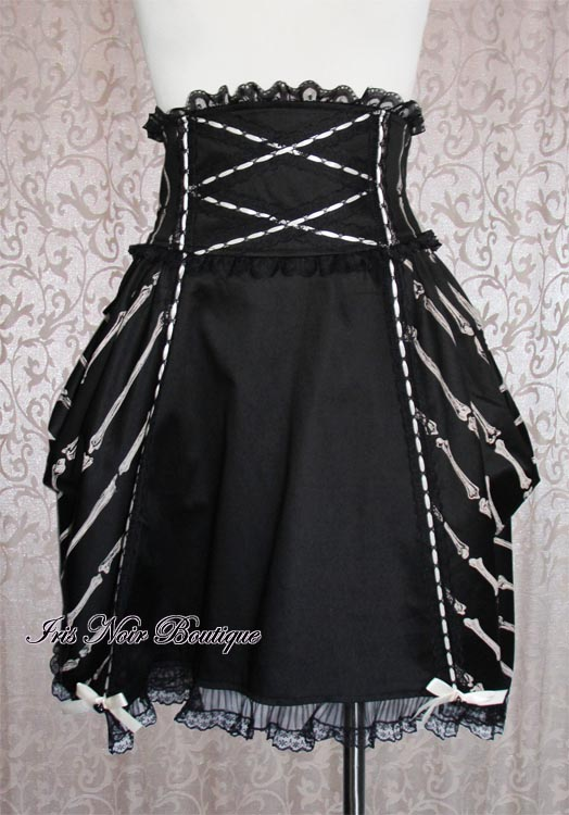 Gothic Steampunk Lolita Bones Print Bustle Skirt with Bow