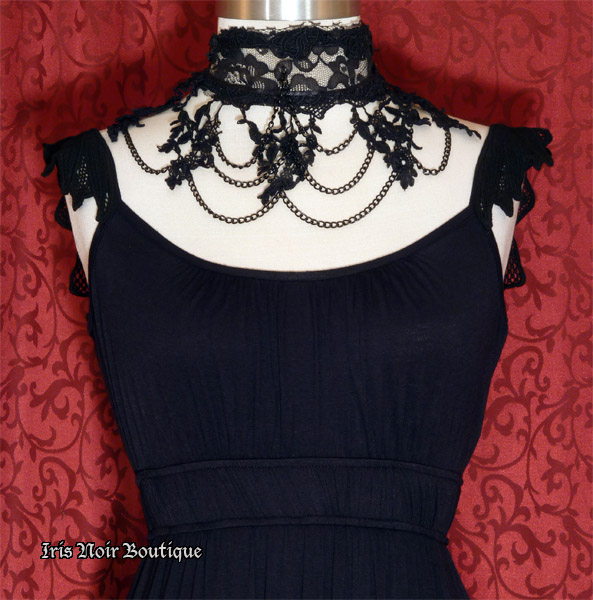 'Victorian Maiden' Sculpted Lace Shoulder Gothic Maxi Dress