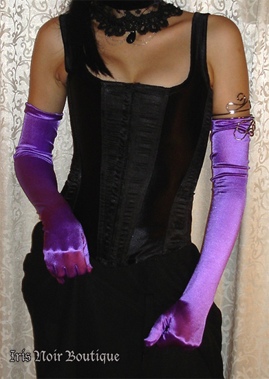 {Gloves} Goth Victorian Steampunk Satin Opera Length Gloves