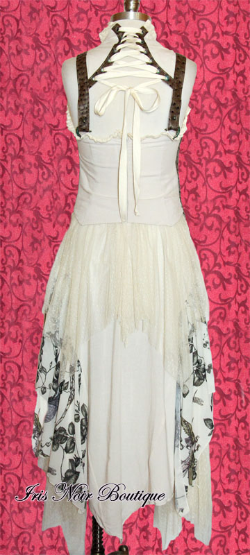 Steampunk Victorian Mecanique Menagerie Ivory Chiffon Gown Dress