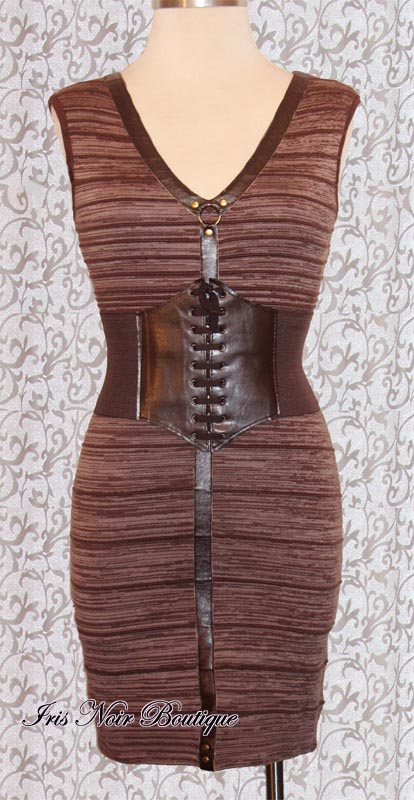 'Along the Meridian' Steampunk O-Ring Brown Sweater Dress