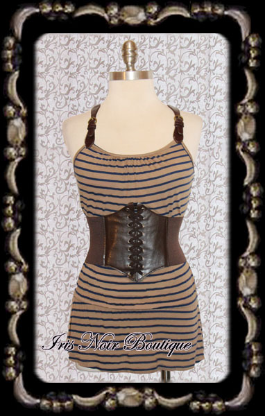 'Ocean Voyager' Steampunk Brown Leather Buckle Tank Tunic Top