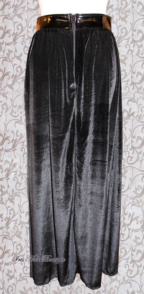 Phaze UK Black Velvet & Vinyl Classic Goth 'Guardian' Skirt