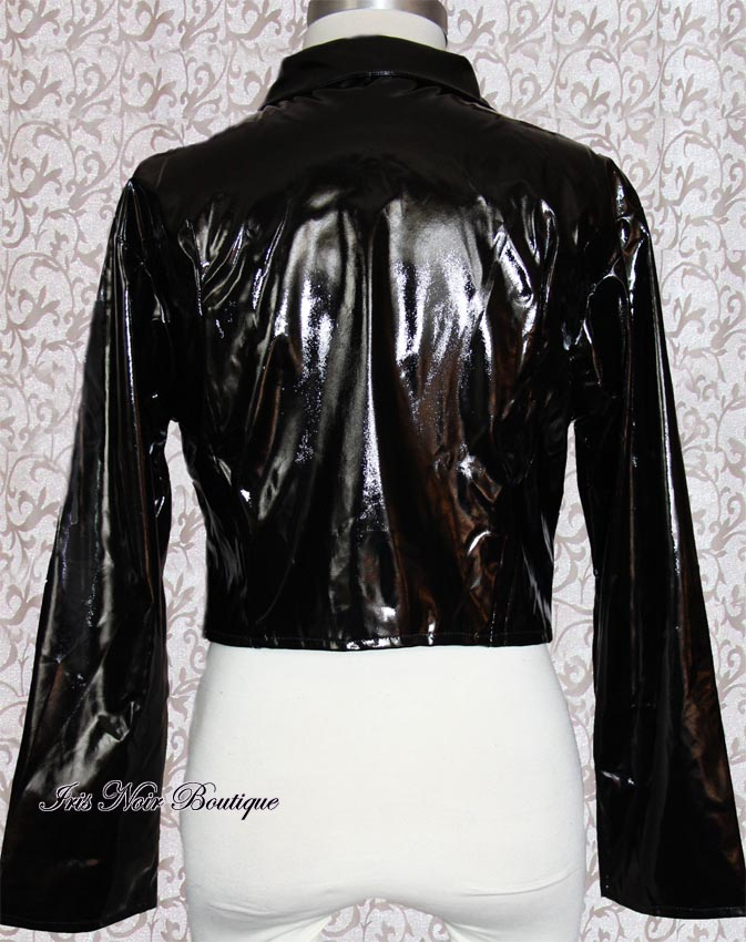 Black Vinyl Goth Neo-Victorian Long Sleeve Jacket Top L-XL