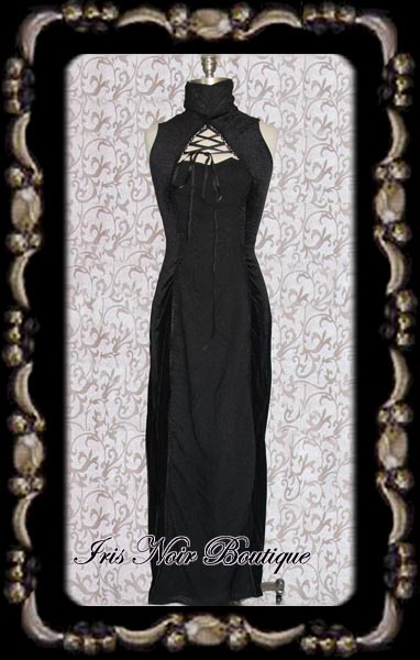 Gothic Victorian Black Velvet High Neck Lace-Up Dress