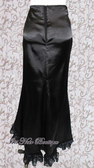 Black Satin & Lace 'Morticia' Gothic Victorian Fishtail Skirt