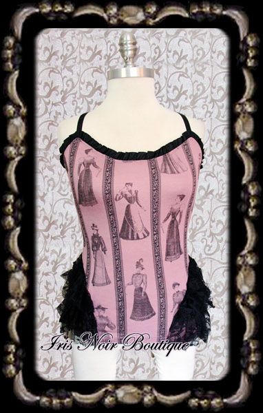 Lip Service Step in Time Victorian Lady Pink Ruffle Cami