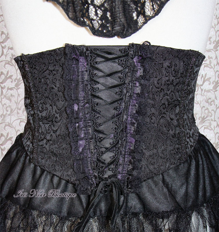 Gothic Lolita Victorian Black & Purple Decorative Cincher