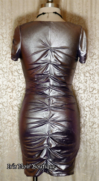 'Cyber Queen' Goth Industrial Silver Purple Gathered Dress