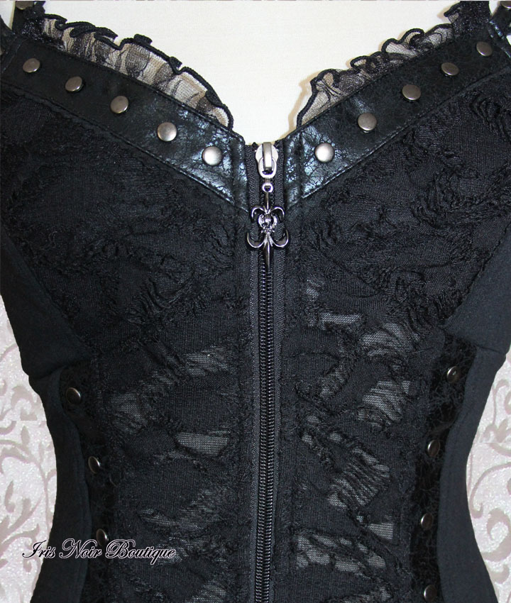 Goth Victorian Visual Kei Disintegrated Zip Up Bodice Top