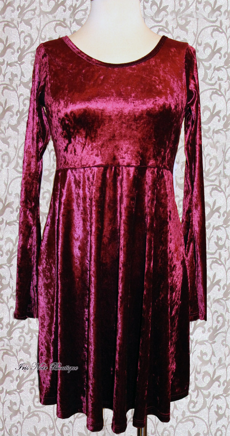 Black & Greige Gothic Lolita Burgundy Velvet High Waist Dress