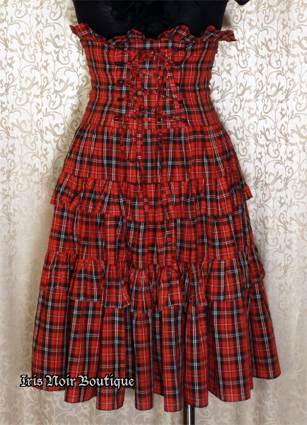{Used} Elegant Gothic Lolita Red Plaid High Waist Ruffle Skirt S
