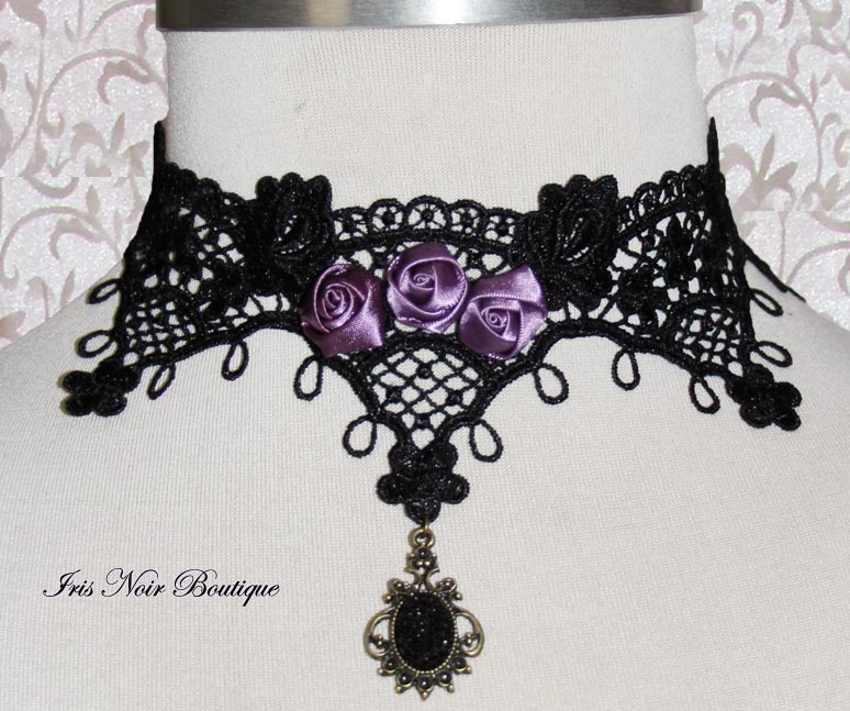{Neckwear} Gothic Lolita Victorian 'Love & Roses' Lace Choker
