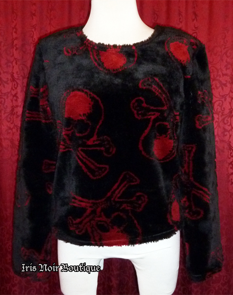 {Used} Lip Service Monster Skull Punk Goth Fur Top L