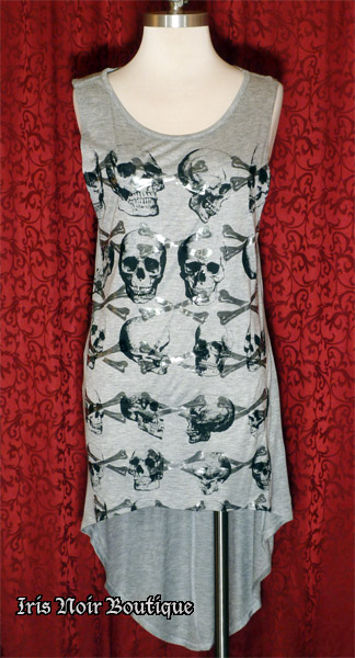 'Tomb Raider' Hi-Lo Steampunk Skull Print Tunic Top