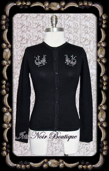 Gothic Lolita Cute Black Birdie Cardigan Sweater