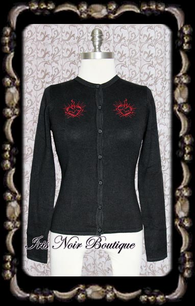 Gothic Lolita Broken Heart Black Cardigan Sweater