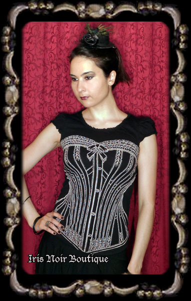 Lip Service Step In Time Steampunk Cap Sleeve Corset Print Top