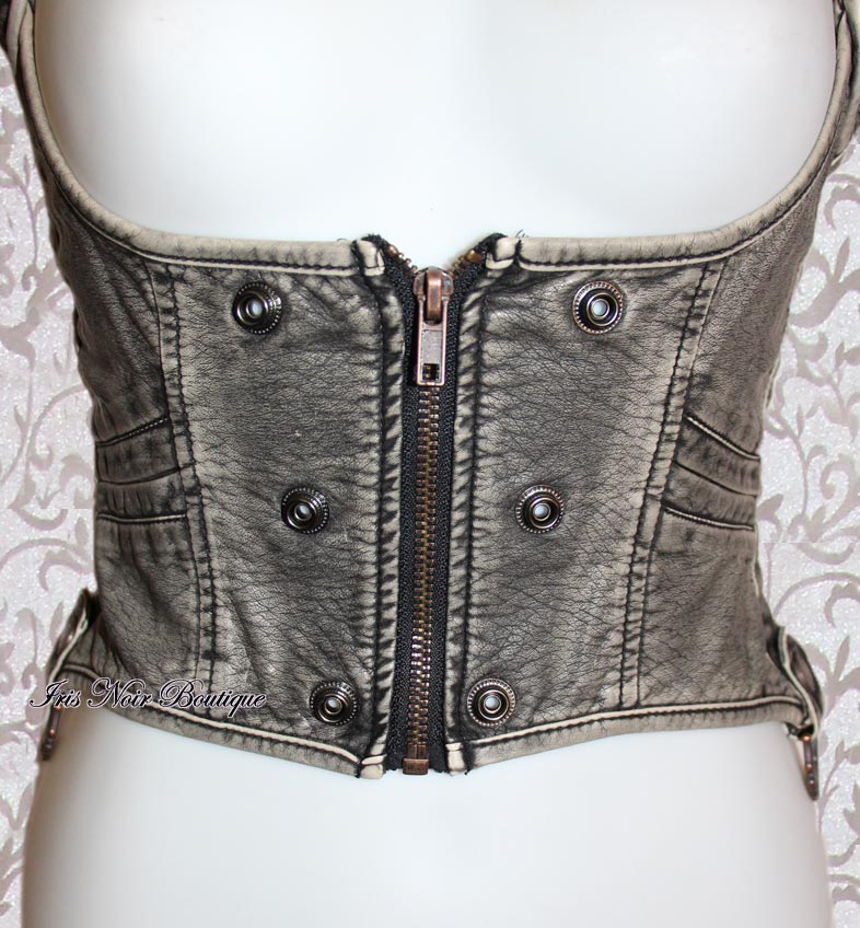 Lip Service Step in Time Gray Victorian Underbust Holster Top