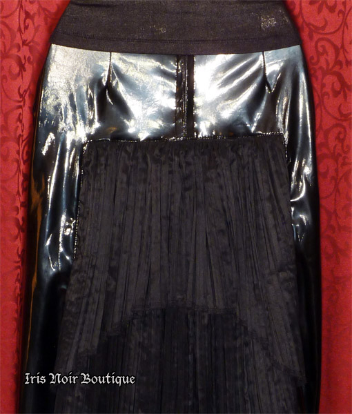 {Used} X-tra-X Black Vinyl Neo-Victorian Gothic Bustle Skirt XS