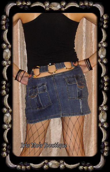 Blue Denim 'Sonic Boom' O-Ring Punk Emo Clubbing Mini Skirt