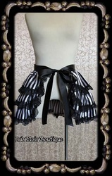 Gothic Lolita Victorian White or Purple Striped Bustle Overskirt