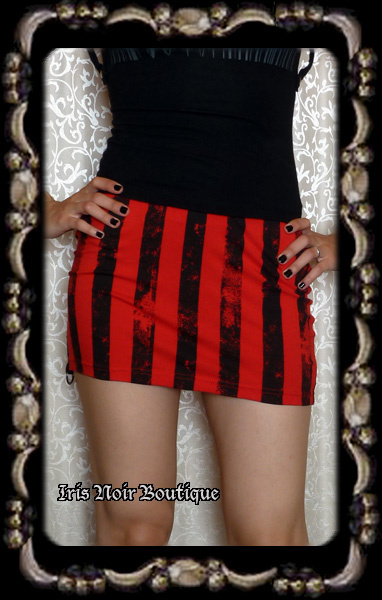 Lip Service Batz & Bones Punk Goth Striped Mini Skirt