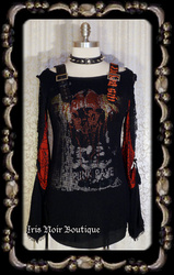 Punk Rave Black & Red Skull D-Ring Visual Kei Buckle Top