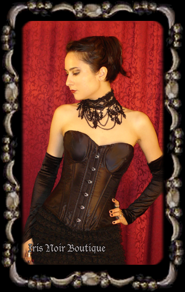 Black Satin Goth Basic Strapless Steel Boned Victorian Corset