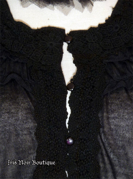 Gothic Lolita Crochet Lace Collar Cardigan Sweater Top