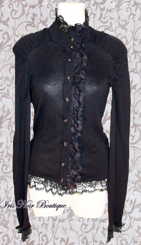 {Used} Lip Service Blacklist Lace Ruffle Rose Buttons Sweater XS