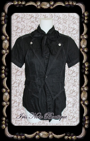 {Used} Goth Visual Kei Bow Button Shirt & Vest Combo S-M