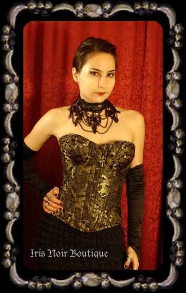 Golden Brocade Gothic Victorian Steampunk Steel Boned Corset