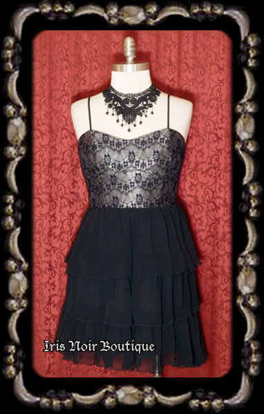 'Cutsey Pie' Gothic Lolita Lace Over Mini Dress
