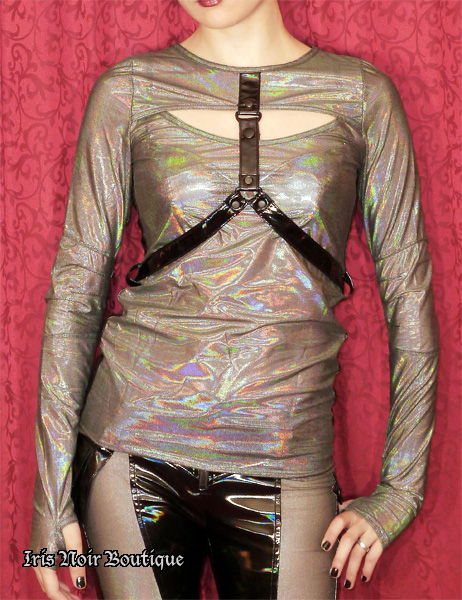 Lip Service Oil Spill Cyber Goth Long Sleeve Top