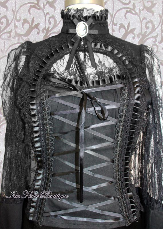 High Neck Gothic Victorian Steampunk Lace Up Cameo Top